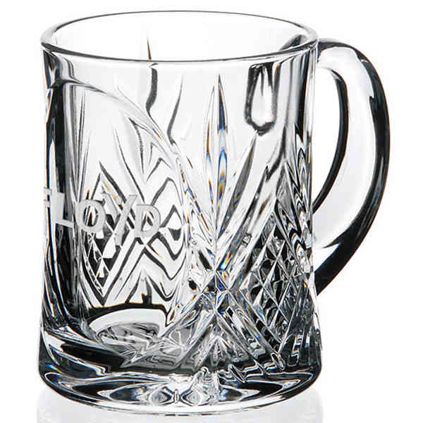 Item #35187 Masquerade - 24% lead crystal single mug, 12 oz. capacity.