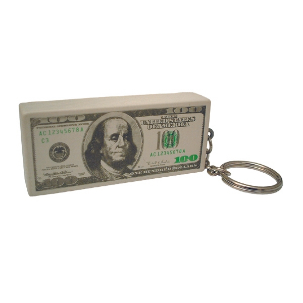 Item #KHD-27 Hundred Dollar Stack Shaped Stress Reliever Key Tag
