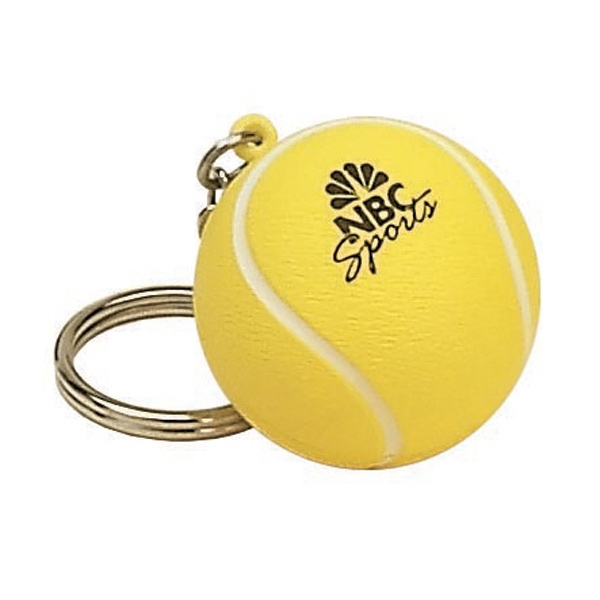 Item #KT-14 Tennis Ball Shaped Stress Reliever Key Tag