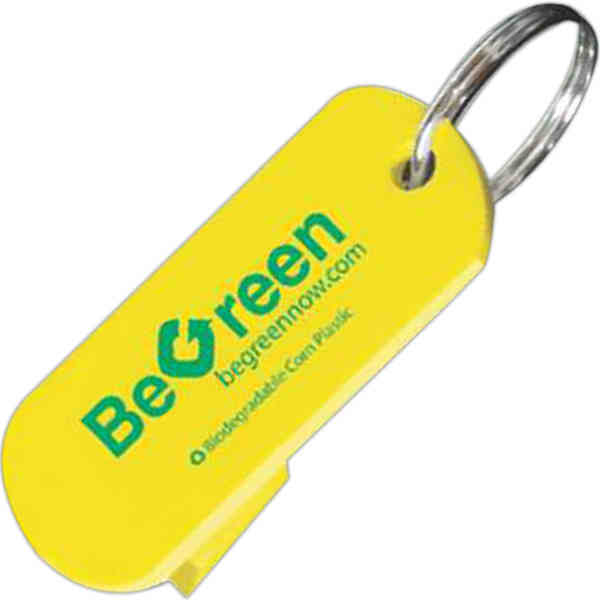 Item #11015-CP Can Help - Biodegradable corn plastic can opener with metal key ring.