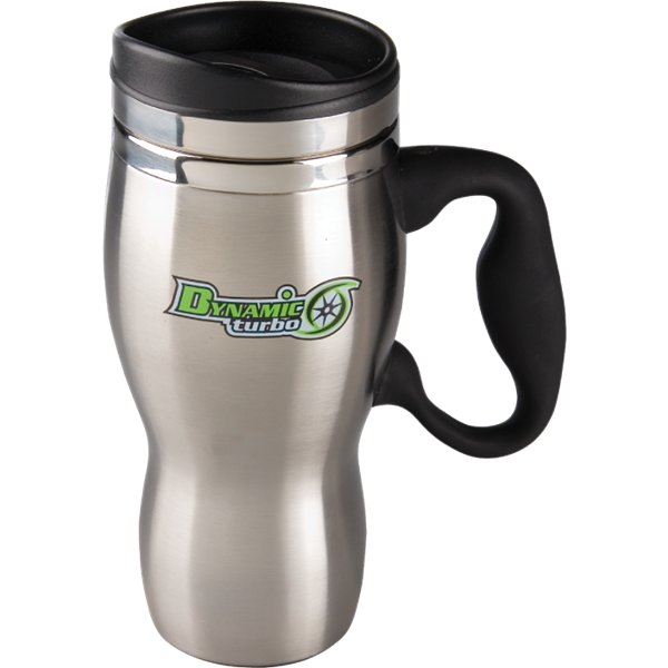 Item #SL27SS Sphere - Stainless steel 16 oz. travel mug with dual wall stainless steel construction