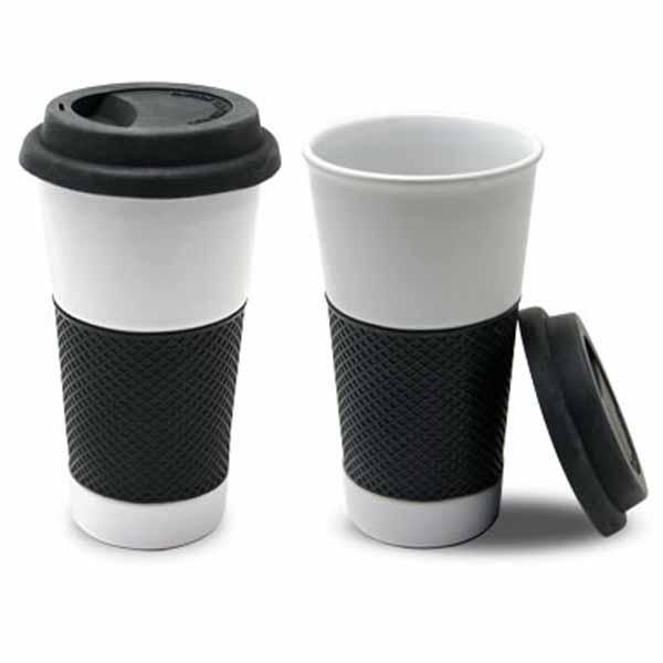 16 Oz White Ceramic Coffee Tumbler Or Mug With Black