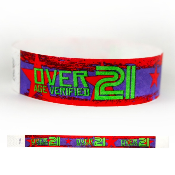 "Item #T3D-60 Tyvek® 3/4"" Design 21 Verified Wristband"