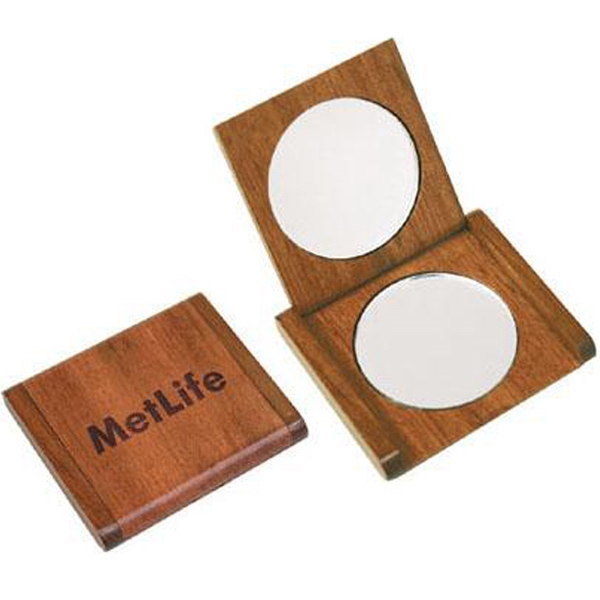 Item #AD-1160 Solid rosewood double mirror compact
