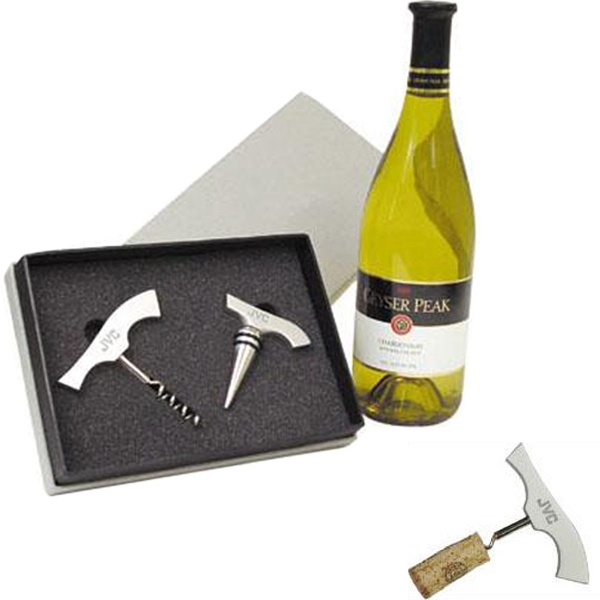 Item #AD-1502 Aluminum corkscrew and wine stopper gift set