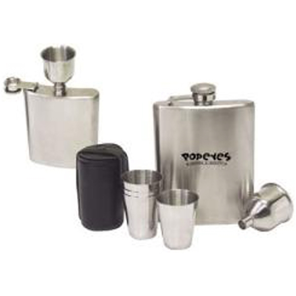 Item #AD-1517 7-piece stainless steel hip flask gift set