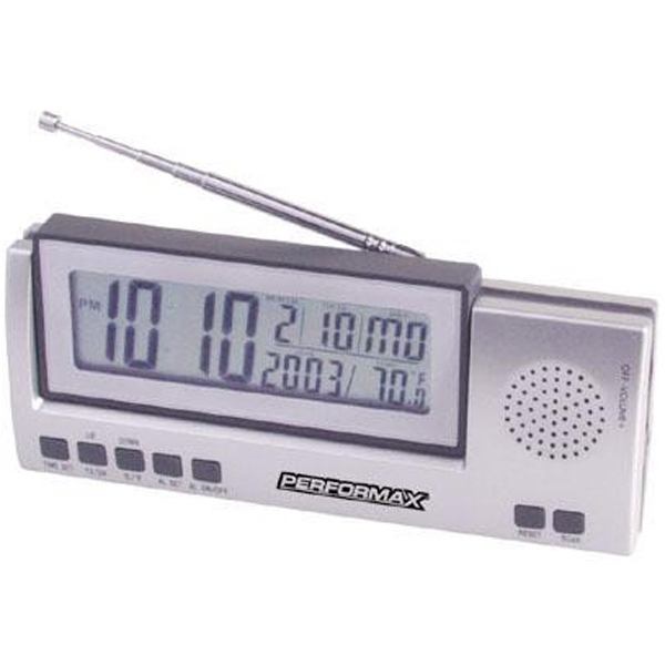 Item #AD-345 Jumbo LCD radio with clock, day, date and temperature