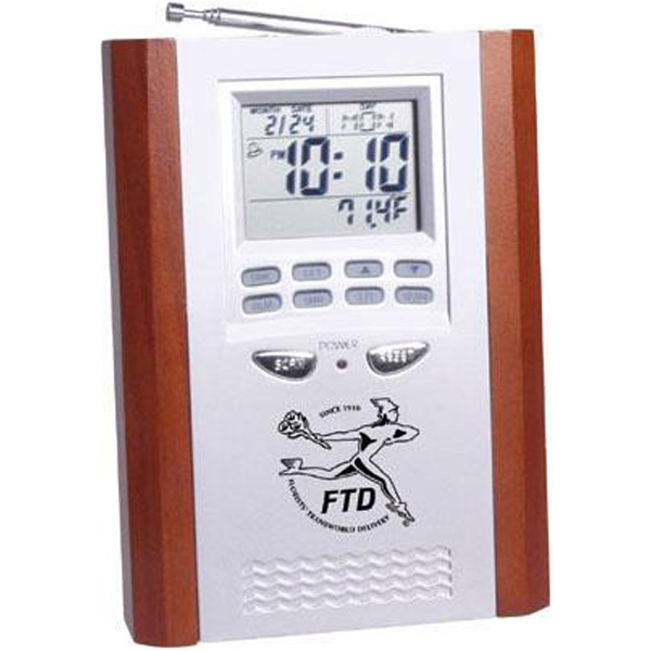 Item #AD-355 Executive FM scan radio alarm clock with thermometer