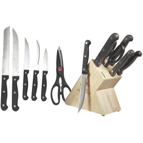 Item #AD-619 6-piece stainless steel knife set with wooden block