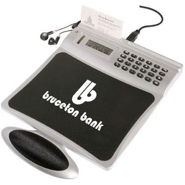 Item #AD-673 4-port USB mouse pad with radio and calculator