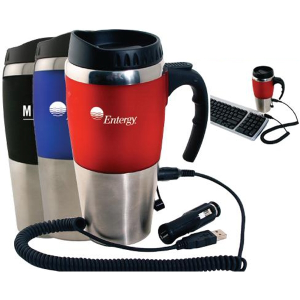 Item #AD-692 16 oz dual auto/USB heater mug with closure top