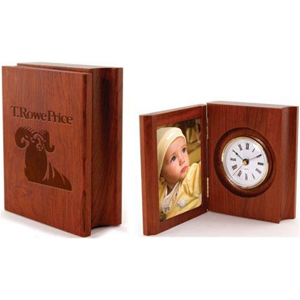 "Item #AD-756 3 1/4"" x 4 1/4"" solid rosewood folding photo frame clock"