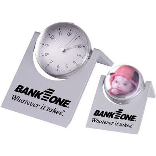 Item #AD-765 Magnified sphere clock with photo frame