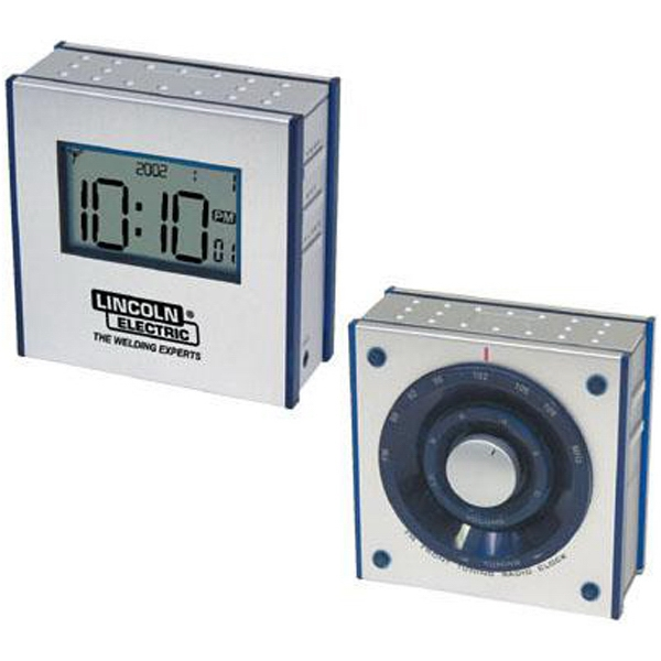 Item #AD-838 Dual-panel FM clock radio with large LCD screen
