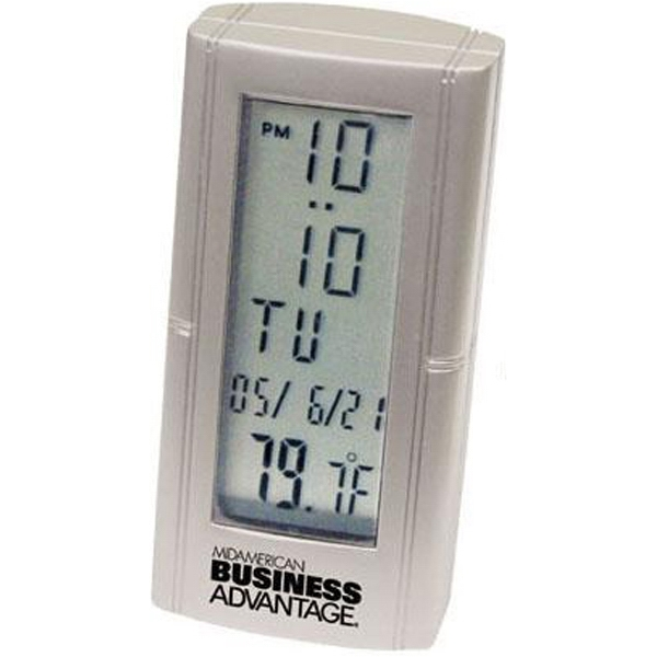 Item #AD-864 Die-cast metal desk alarm clock with thermometer