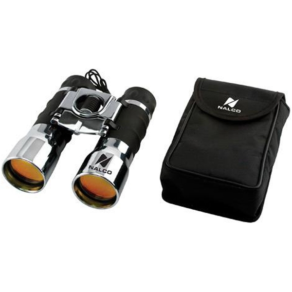 Item #AD-999 16x32 chrome plated binoculars with ruby lenses and case