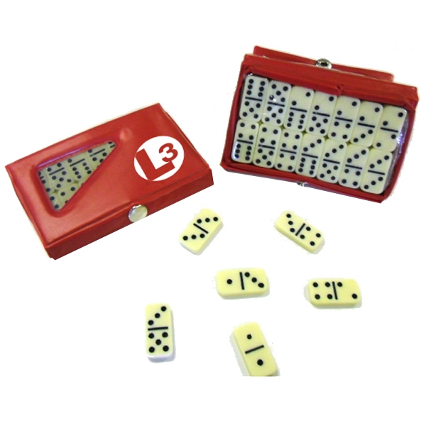 Item #Domino 657 Red Compact 28 Piece Double Six Domino Game Set - E657