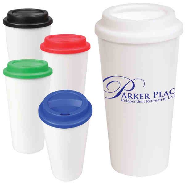 Item Mg750 Reusable Double Wall Plastic Tumbler Resembles Disposable Paper Coffee Cup Closeout