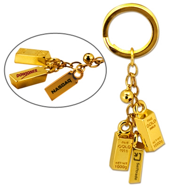 Item #KY-3069 Gold Bar Bell Keychain