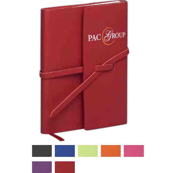 Item #3462 Strap closure folded cover notebook with cream colored paper without lines.