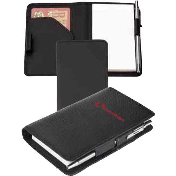 Item #B235SR28 Buxton - Velvet touch cowhide leather note jotter with dual pen loops and card pocket.