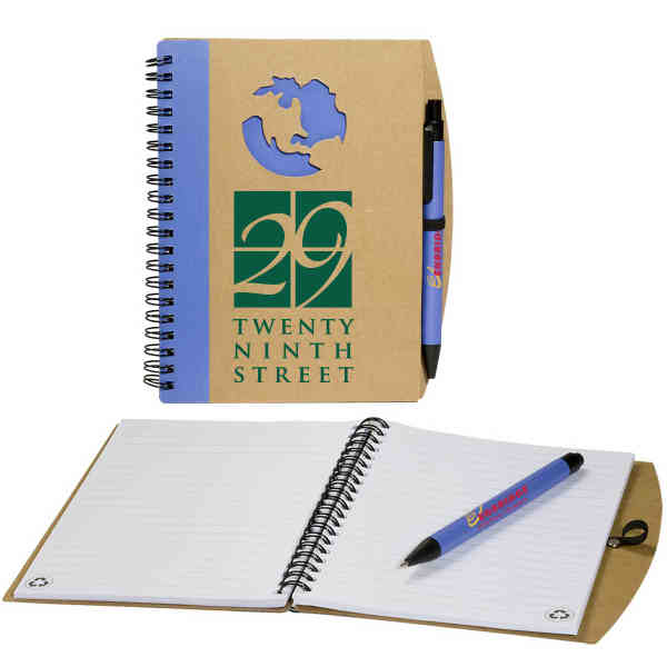 Item #PL-4271 Eco-Responsible (TM) - Globe window notebook with 70 pages ruled white recycled paper. Closeout.