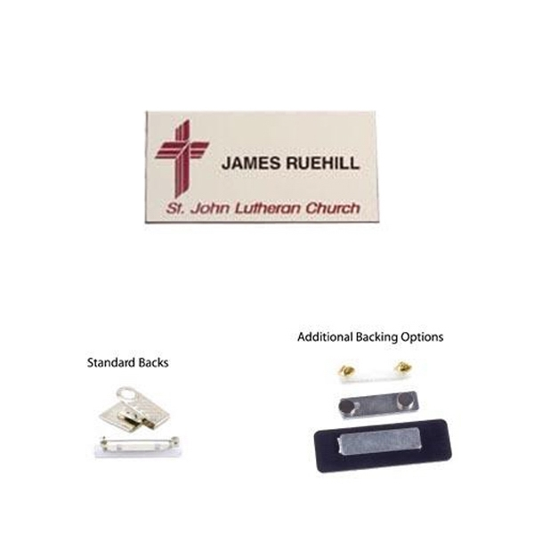 "Item #AD-1324 1 1/2"" x 3"" Laser engraved name badge"