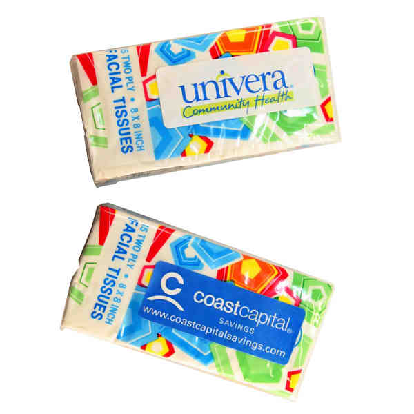Item #TS88 Mini travel tissue pack contains 15 two ply tissues.