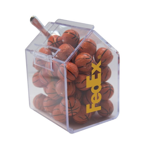 Item #CANDYBIN1-CB Candy Bin Dispenser with Chocolate Sports Balls