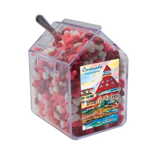 Item #CANDYBIN1-HRTS Candy Bin Dispenser with Candy Hearts