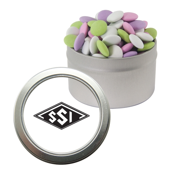 Item #CWT29-LENTILS Silver Candy Window Tin with Mint Lentils