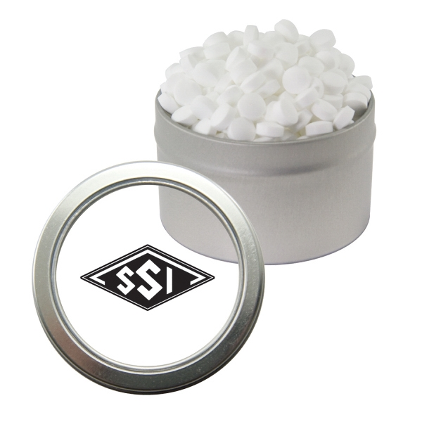 Item #CWT29-SUG-MINT Silver Candy Window Tin with Sugar-Free Mints
