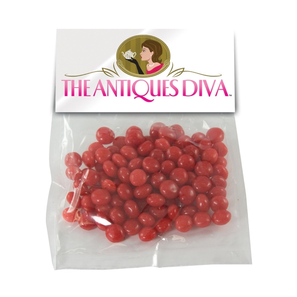 Item #HB30-RED HOTS Large Candy Bag (with Header Card) with Cinnamon Red Hots