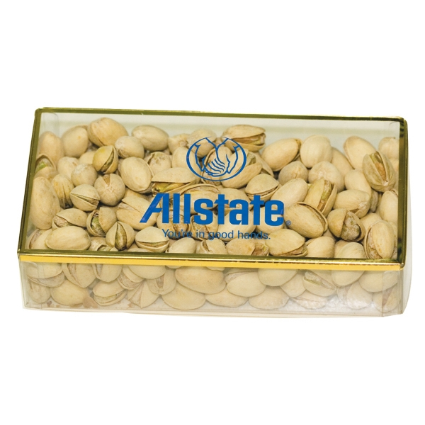 Item #PBG8A-NUTS Golden Favorites Acrylic Box with Pistachios Nuts