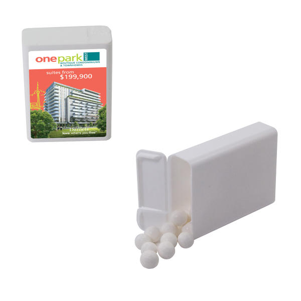 Item #PMD05W-PLASTIC Refillable plastic mint/candy dispenser with Peppermints
