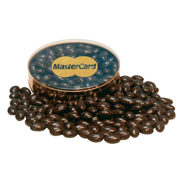 Item #PRBG-A-ALMONDS Gold Rush Container with Chocolate Covered Almonds