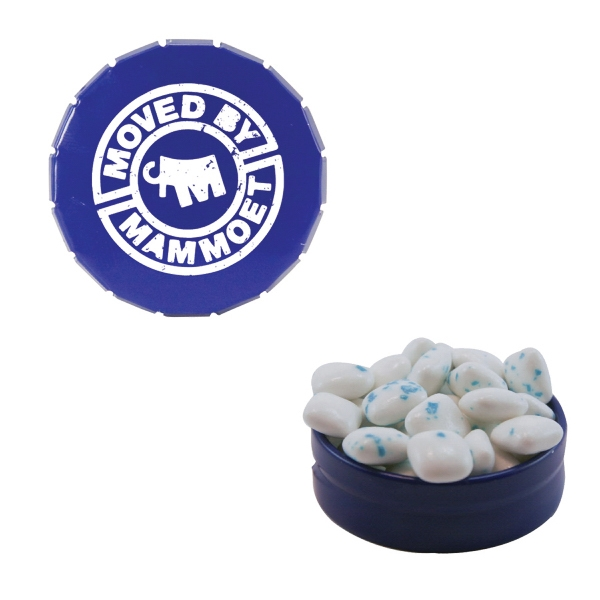 Item #SST15B-SUG-GUM Small Snap Top Tin with Sugar-Free Gum