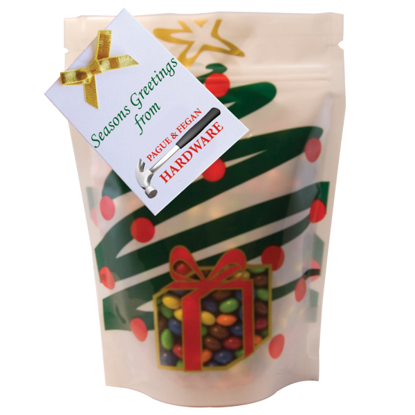 Item #WB2HT-XMAS Large Window Bag with Chocolate Little Candy - Holiday Tree