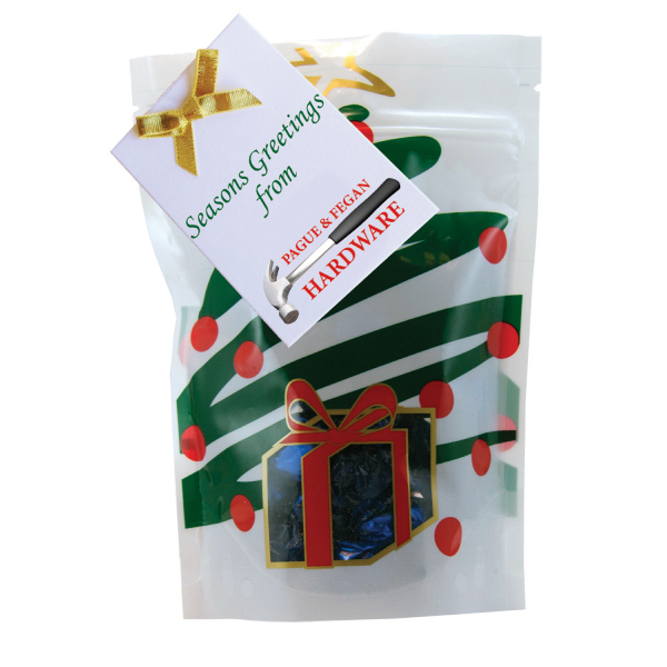 Item #WB2HT-CANDY Large Window Bag with Foil Hard Candy - Holiday Tree