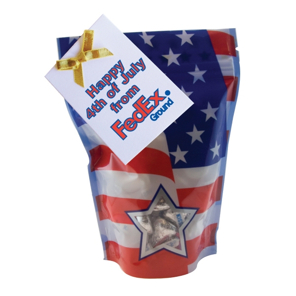 Item #WB2P-KISS Large Window Bag with Hershey Kisses - Patriotic - July 4th
