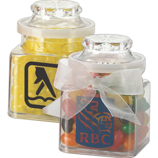 Item #P208-Mint Plastic Jar filled with personalized mints