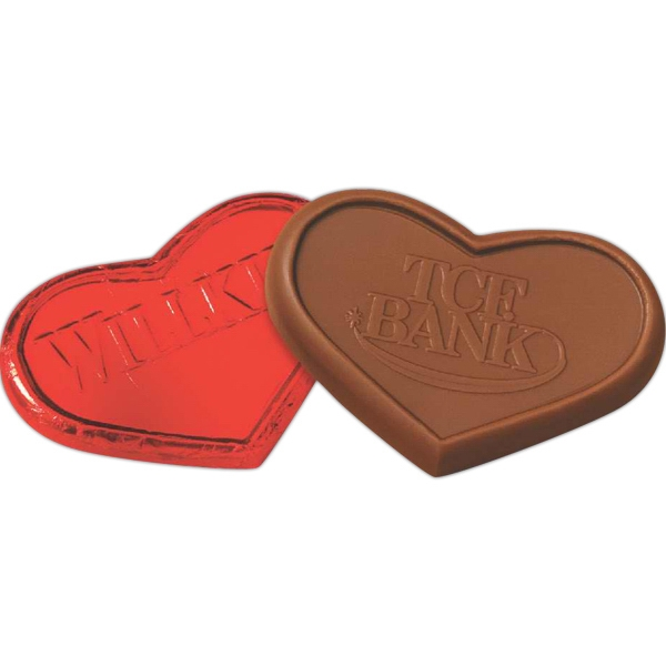 Item #HEART-F Heart Foiled Wrapped Molded Milk Chocolate