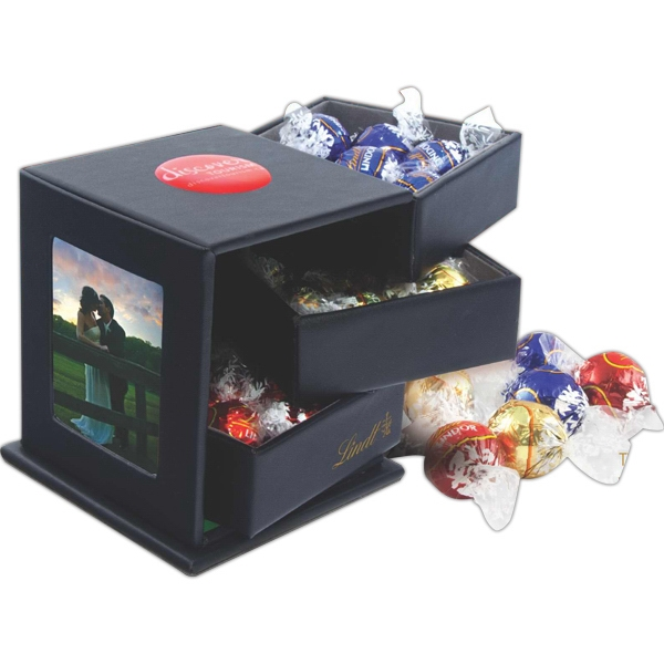 Item #LT150 Lindt Chocolate Leatherette Swing Box with Drawers