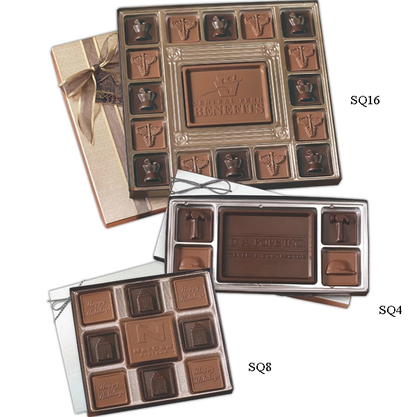 Item #SQ8 Custom chocolate squares gift box