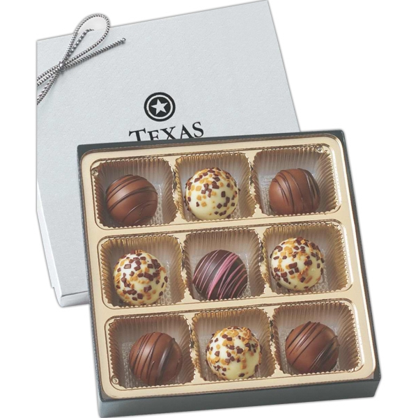 Flavor filled truffles in gift box