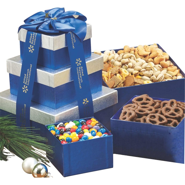 Item #663-E Sweet and Savory Gift Tower w Assorted Nuts and Confections