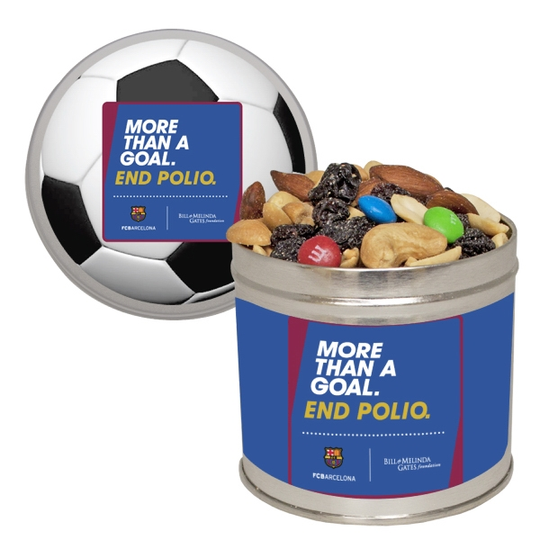 Item #HQT205-TRAIL Half Quart Tin Containers with Trail Mix