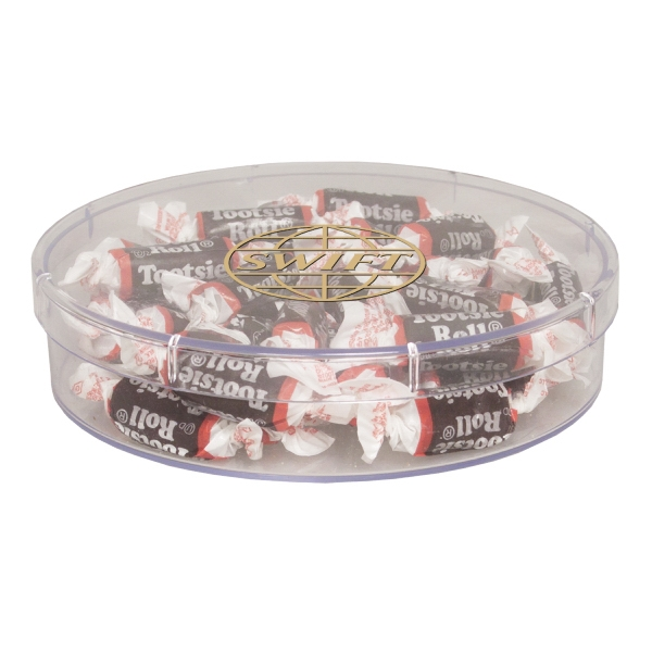 Item #SPLRND-TOOTSIE Large Round Acrylic Show Piece Container with Tootsie Rolls