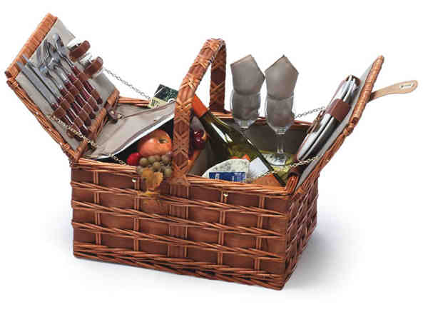 Wooden Picnic Basket Set : Sebago hand woven willow and wood picnic basket set for