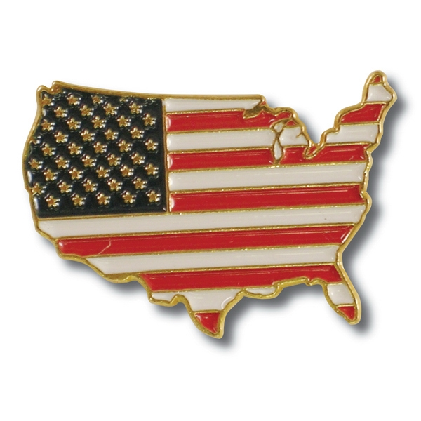 Item #I24 US Map Flag Lapel Pin